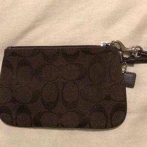 Coach dark brown coin purse